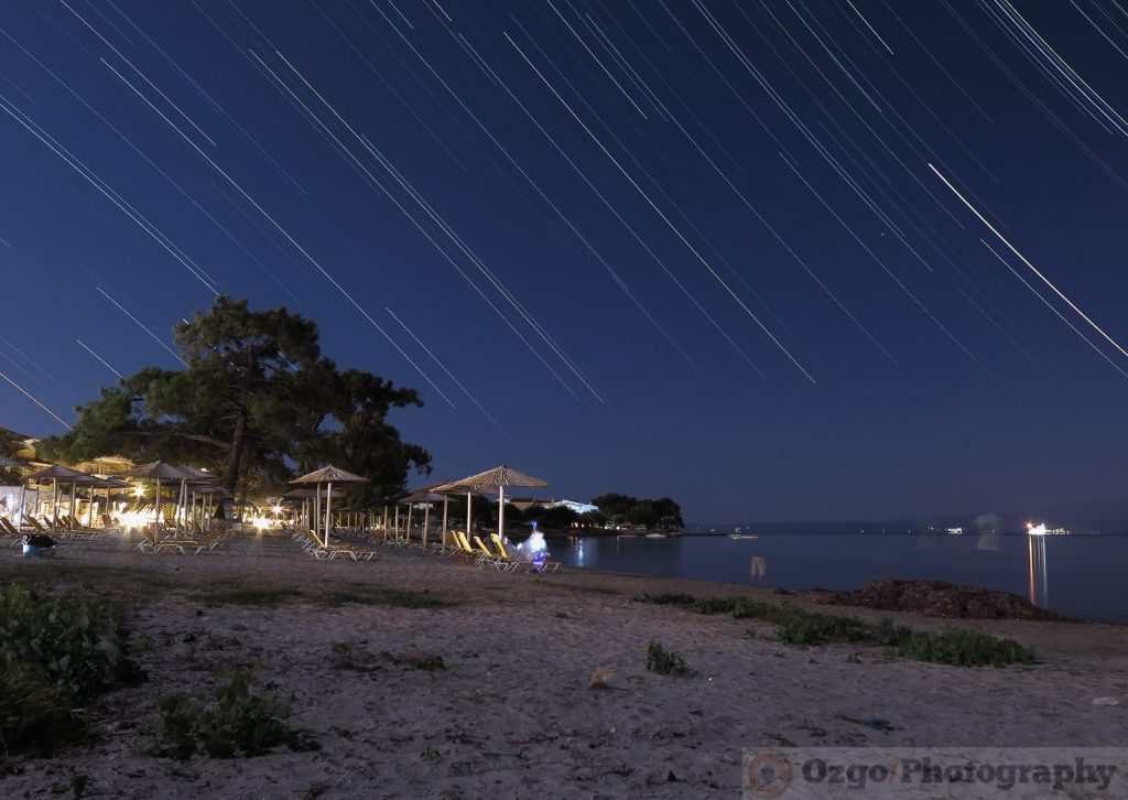 startrails in skala Rachoni, Thassos, Greece