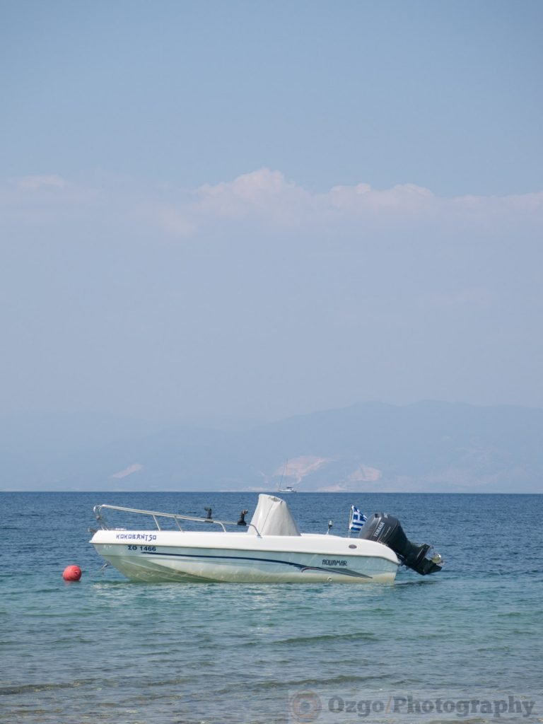 small boat in the water, Thassos, Greece
