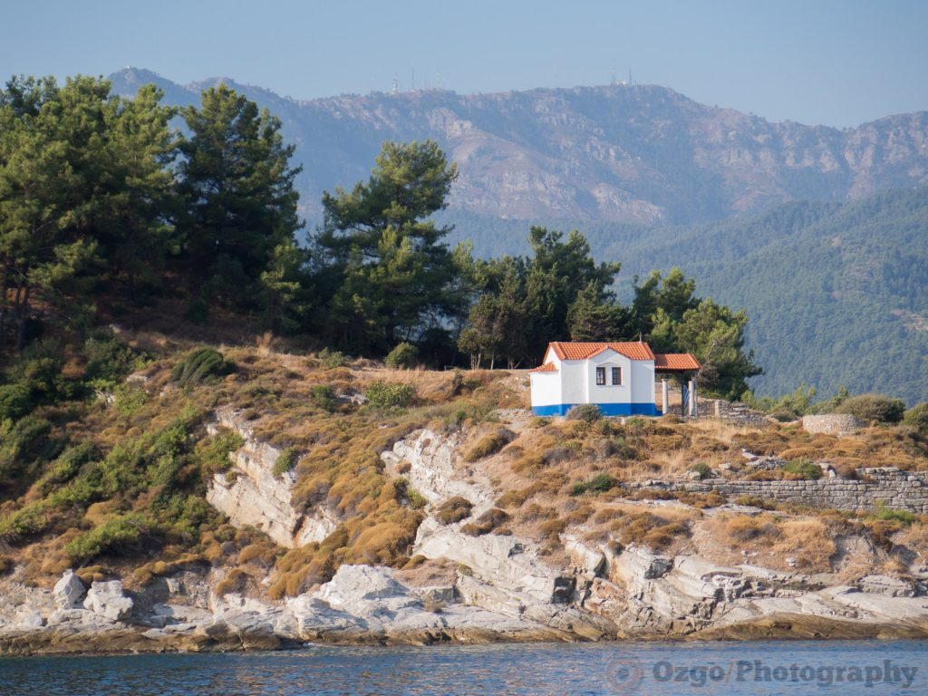 small church on a cliff near the old harbor in Thasos